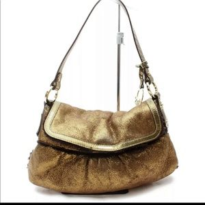 Authentic Fendi Gold Metallic Shearling Fun lined